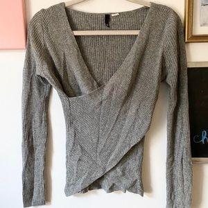 Wrap Front Angora Sweater